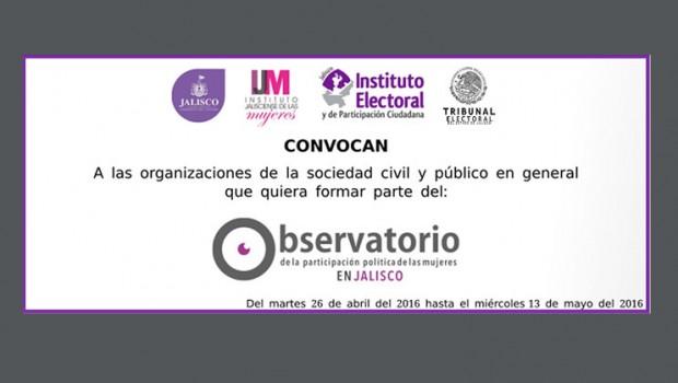 """Convocatoria """"Observatorio de la participación política de las mujeres en Jalisco"""""""