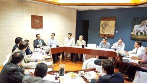 El Magistrado Presidente Rodrigo Moreno Trujilloparticipando en la sesión de comité ejecutiva, enCámara de Comercio