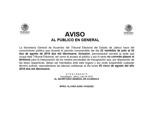 Aviso del Tribunal Electoral del Estado de Jalisco