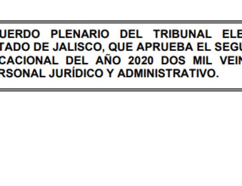 Acuerdo Plenario que aprueba el segundo período vacacional 2020.